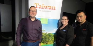 Danielle Caltaux, Acrossia; flanked by Kris McFarlane and Richard Lee of Taiwan Tourism