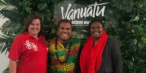 Jacquie Carson, NZ rep; Allan Kalfabun, Marketing Manager; Adela Issachar Aru, CEO – all Vanuatu Tourism Office