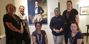 At James Brooke Gallery, Kuching…Jayne Johnston, HOT Timaru; Selina Wylie, Corporate Traveller; Sunita Narula, Exotic Holidays; Lisa Sideni, gallery manager, Claire von Maltzahn, Flight Centre, Kerikeri; Emily Newrick, Maher Escorted Tours