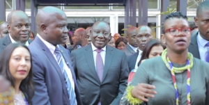 South Africa's President, Cyril Ramaphosa (centre) drew the crowds at Africa's Travel Indaba