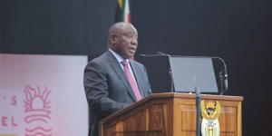 South African President Cyril Ramaphosa speaks at Africa's Travel Indaba