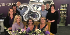 HOT Hawkes Bay celebrates 25 years… (standing) Lisa Salkeld, Cheryl Johnson, Dan Hobby, Steve Lawson, Lance Brown and Wendy Sangster, (seated) Jenny Nilsson, Debby McRobbie, Donna Harrison