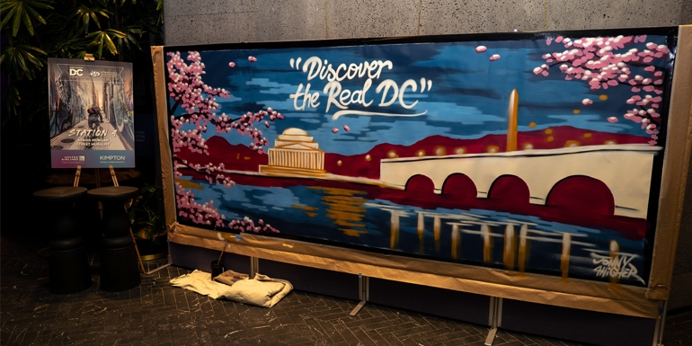 This Washington DC artwork was painted during the Discover the REAL DC event on Monday night