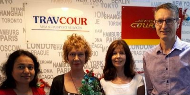 The departing Travcour team of Sophia D'Cruz, Thelma Lorence, Michele Chatham, PeterTuohy
