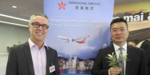 We've arrived… Andrew Clark, regional director Australia, New Zealand, and South Pacific Hong Kong Tourism Board; Li Dianchun, Hong Kong Airlines' chief commercial officer