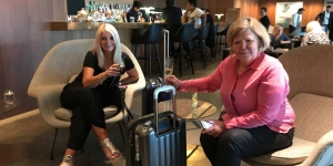 Katrina Cole and Sandra Barclay-Graham enjoy Cathay's business class lounge The Pier